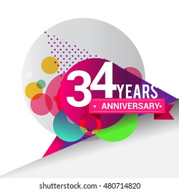 34 Years Anniversary logo with colorful geometric background, vector design template elements for your birthday celebration.