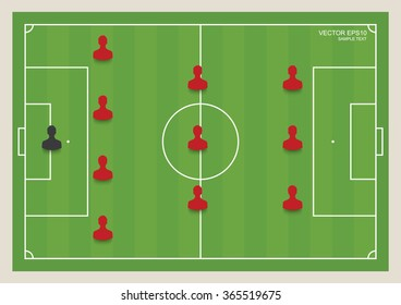 3:4:1:2 - Soccer game formation tactics on green field. Planning position for coach. Vector illustration.