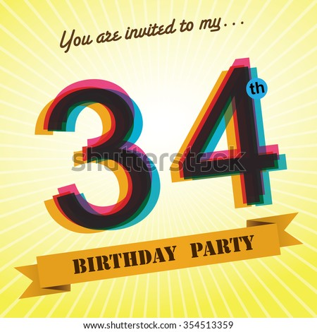 34th birthday party invite template design stock vector royalty