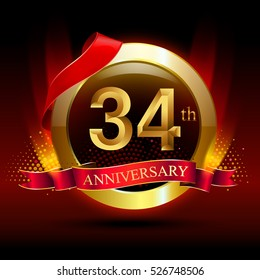 34th golden anniversary logo with ring and red ribbon. Vector design template elements for your birthday celebration.