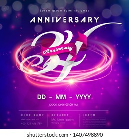 34th modern technology design celebrating numbers with Hi-tech network digital technology concept design elements. 34 years anniversary logo template on purple Abstract futuristic space background.