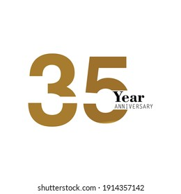 35 55 Year Anniversary Logo Vector Template Design Illustration gold and white