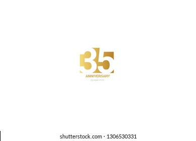 35 anniversary, minimalist logo. Tenth years, jubilee, greeting card. Birthday invitation. year sign. Gold space vector illustration on white background - Vector