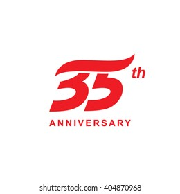 35 anniversary wave logo red