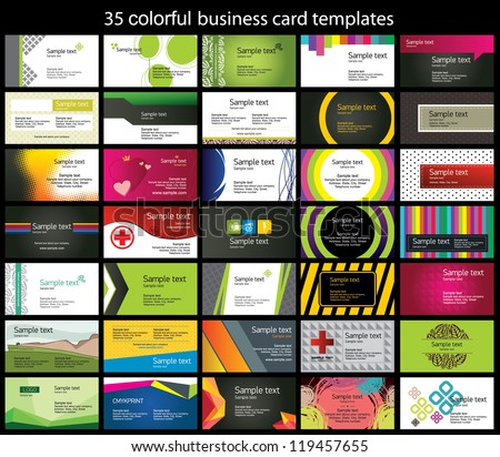35 colorful business card template のベクター画像素材 ロイヤリティ