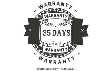35 days warranty icon vintage rubber stamp guarantee