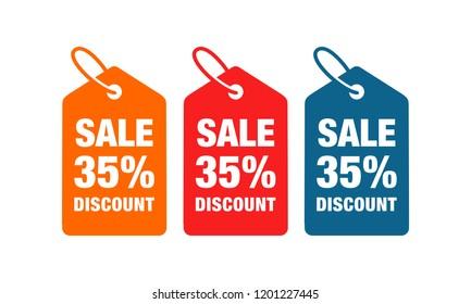 35% discount label symbols vector