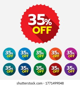35% discount sticker. 35% off sale multi-color tag isolated vector illustration. Discount price label. Symbol for advertising campaign in retail.