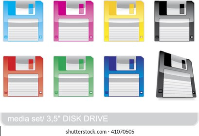 3.5 inch floppy disks for PC, isolated on white background. Vector illustration