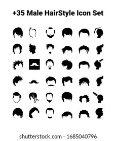 +35 Male Hair Style Flat Icon Set / Vector Art / Eps