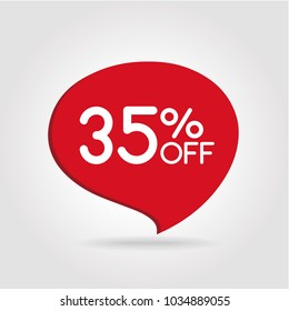 35% OFF Discount Sticker. Sale Red Tag Isolated Vector Illustration. Discount Offer Price Label, Vector Price Discount Symbol.
