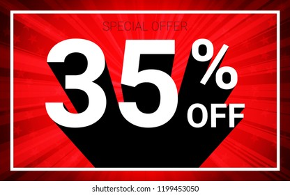 35% OFF Sale. White color 3D text and black shadow on red burst background design. Discount special offer promo advertising concept vector illustration.