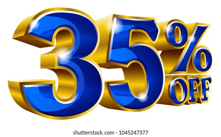 35% off - Thirty five percent off discount gold and blue sign. Vector illustration. Special Offer 35 % Off Discount Tag. Ideal for Sticker, Banner, Advertising, TV Commercial and any Decoration.