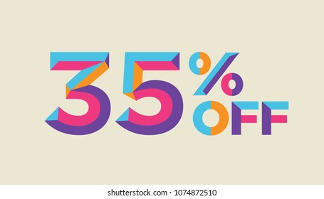 35% percent off, sale background, colorfull polygonal triangle object. Eps10 Vector.