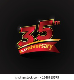 35 Th Years Red Gold Anniversary Logo With Anniversary Ribbon. Vector Eps 10.