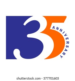 35 or thirty five logo vector.