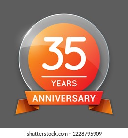 35 / Thirty Five Years Anniversary Logo with Glass Emblem Isolated. 35th Celebration. Editable Vector Illustration.