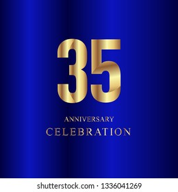 35 Year Anniversary Celebration Gold Blue Vector Template Design Illustration
