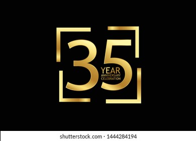 35 year anniversary celebration logotype. anniversary logo with golden and light white color isolated on black background, vector design for celebration, invitation and greeting card-Vector