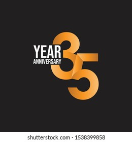 35 year anniversary logo template vector