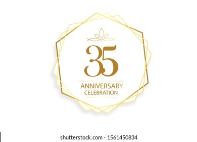 35 year anniversary, minimalist logo. Gold  vector illustration on white background for banner, invitation card, greeting card - vector