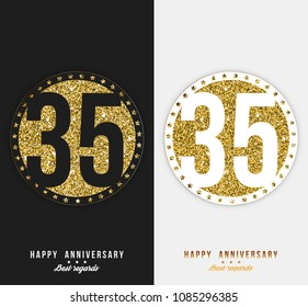 35 - year Happy anniversary black and white cards. Vector illustration.
