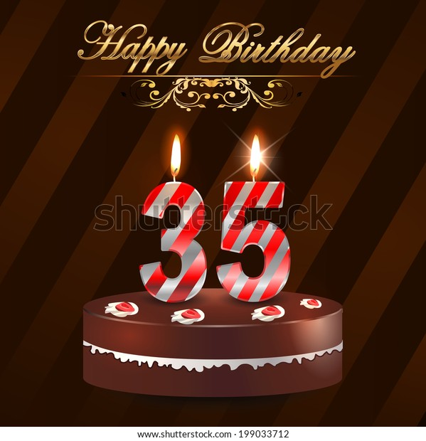 Peachy 35 Year Happy Birthday Card Cake Stock Vector Royalty Free 199033712 Funny Birthday Cards Online Hetedamsfinfo