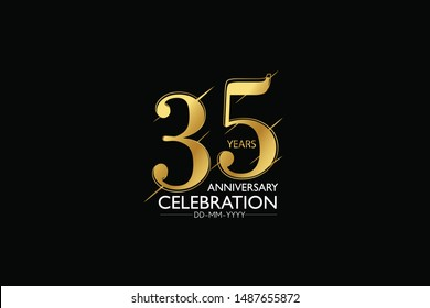 35 year minimalist logo years, jubilee, greeting card. Birthday invitation. Sign Gold space vector illustration on black background - Vector