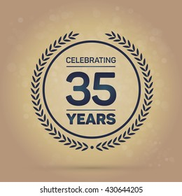 35 years Anniversary Badge on Gold Background. Vector Illustration.
