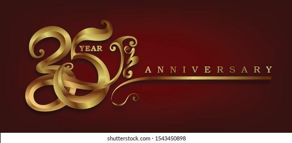 35 Years Anniversary Celebration Design of gold swoosh on black background