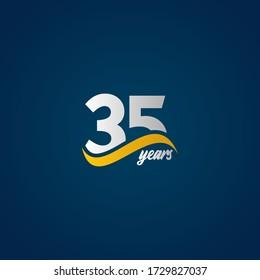 35 Years Anniversary Celebration Elegant White Yellow Blue Logo Vector Template Design Illustration
