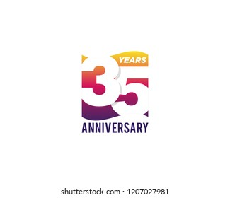 35 Years Anniversary Celebration Icon Vector Logo Design Template. Gradient Flag Style.