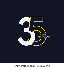 35 years anniversary celebration linked number logo, isolated on dark background
