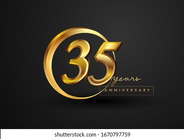 35 Years Anniversary Celebration. Anniversary logo with ring and elegance golden color isolated on black background, vector design for celebration, invitation card, and greeting card