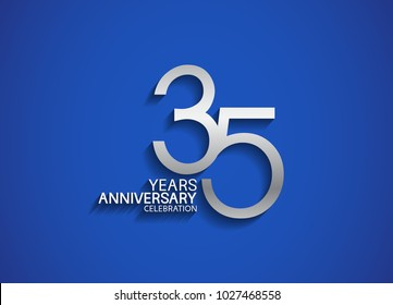 35 years anniversary celebration logotype with silver color isolated on blue background