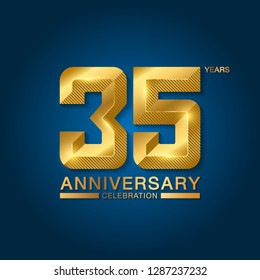 35 years anniversary celebration logotype. Golden anniversary emblem with ribbon. Design for booklet, leaflet, magazine, brochure, poster, web, invitation or greeting card. Vector illustration.