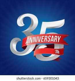 35 years anniversary celebration logotype. 35th silver number with red ribbons on blue background