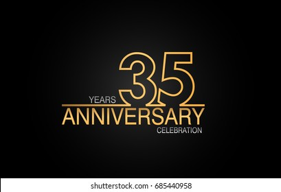 35 years anniversary celebration logotype. anniversary logo with golden and silver color isolated on black background, vector design for celebration, invitation card, and greeting card