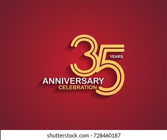35 years anniversary celebration logotype with linked number gold and silver color isolated on red color. vector anniversary for celebration, invitation card, and greeting card