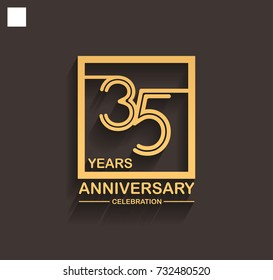 35 years anniversary celebration logotype style linked line in the square with golden color. vector illustration isolated on dark background