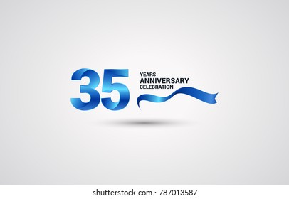 35 Years Anniversary celebration logotype colored with shiny blue, using ribbon and isolated on white background
