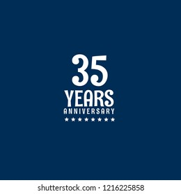 35 years anniversary celebration simple emblem, label, badge, logo. vintage logo, 35 year sign, jubilee, greeting card