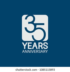 35 years anniversary design blue color with white square for company celebration