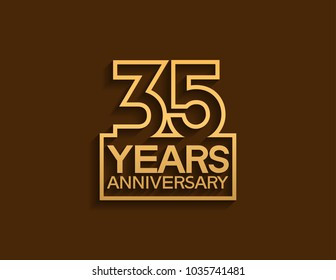 35 years anniversary design line style with square golden color for celebration event