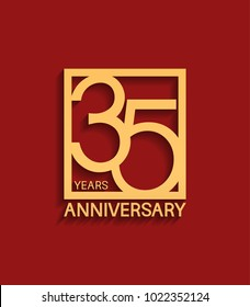 35 years anniversary design logotype golden color in square isolated on red background for celebration event