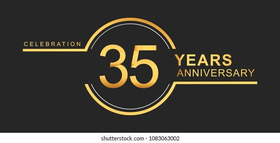 35 years anniversary golden and silver color with circle ring isolated on black background for anniversary celebration event