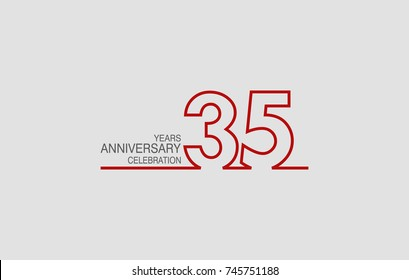 35 years anniversary linked logotype with red color isolated on white background for company celebration event