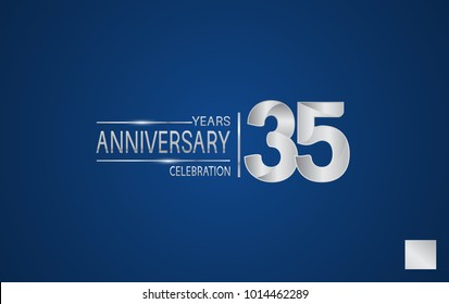 35 years anniversary logo with elegance silver color isolated on blue background for celebration event