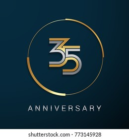 35 Years Anniversary Logotype with  Gold and Silver Multi Linear Number in a Golden Circle , Isolated on Dark Background