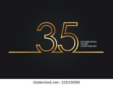 35 Years Anniversary logotype with golden colored font numbers made of one connected line, isolated on black background for company celebration event, birthday - Vector